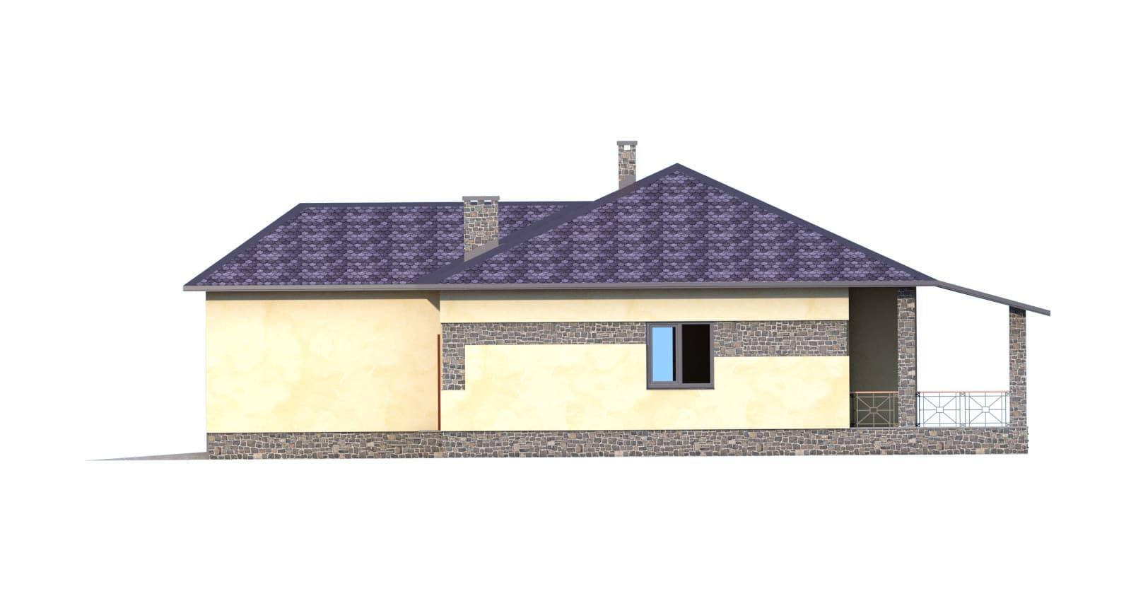 Фасад одноэтажного дома с гаражом и террасой «КО-51» - справа