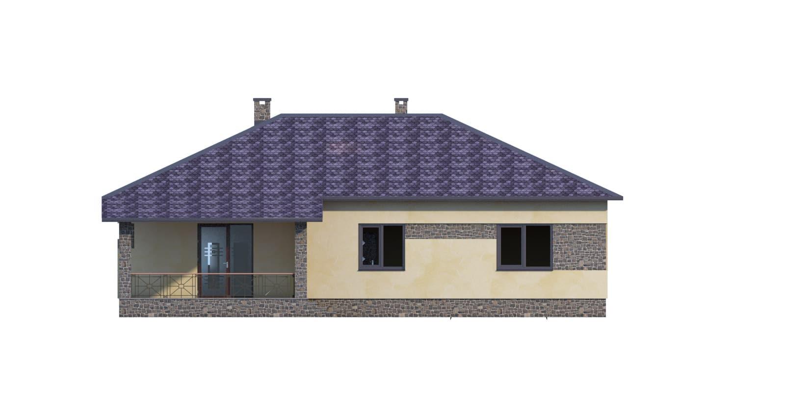 Фасад одноэтажного дома с гаражом и террасой «КО-51» - сзади