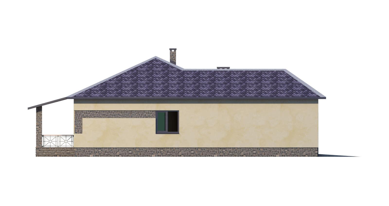 Фасад одноэтажного дома с гаражом и террасой «КО-51» - слева