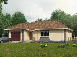 Проект одноэтажного дома с гаражом и террасой «КО-52»