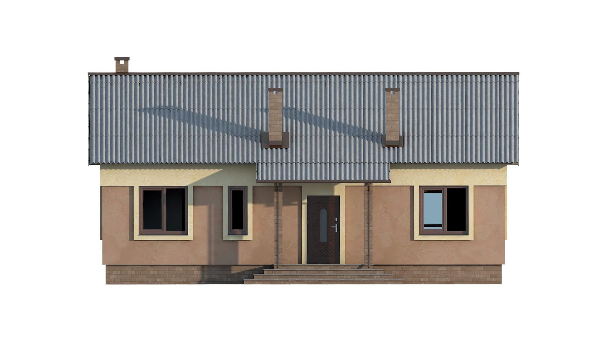 Фасад одноэтажного дома с террасой «КО-53» - спереди