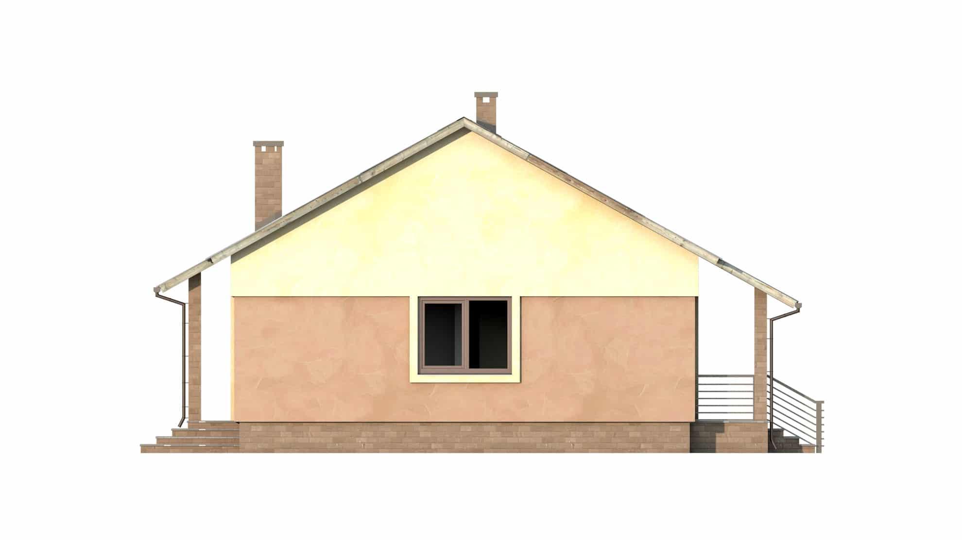 Фасад одноэтажного дома с террасой «КО-53» - справа