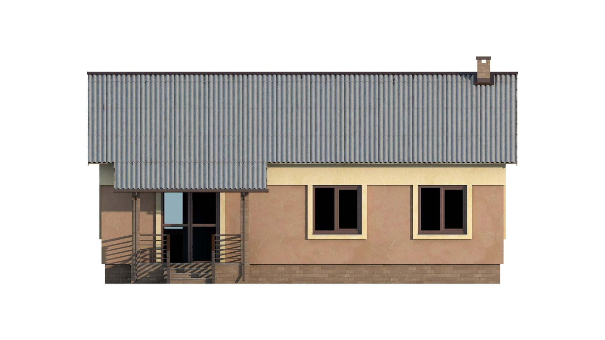 Фасад одноэтажного дома с террасой «КО-53» - сзади