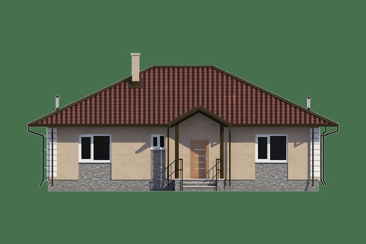 Фасад одноэтажного дома с террасой «КО-55» - спереди