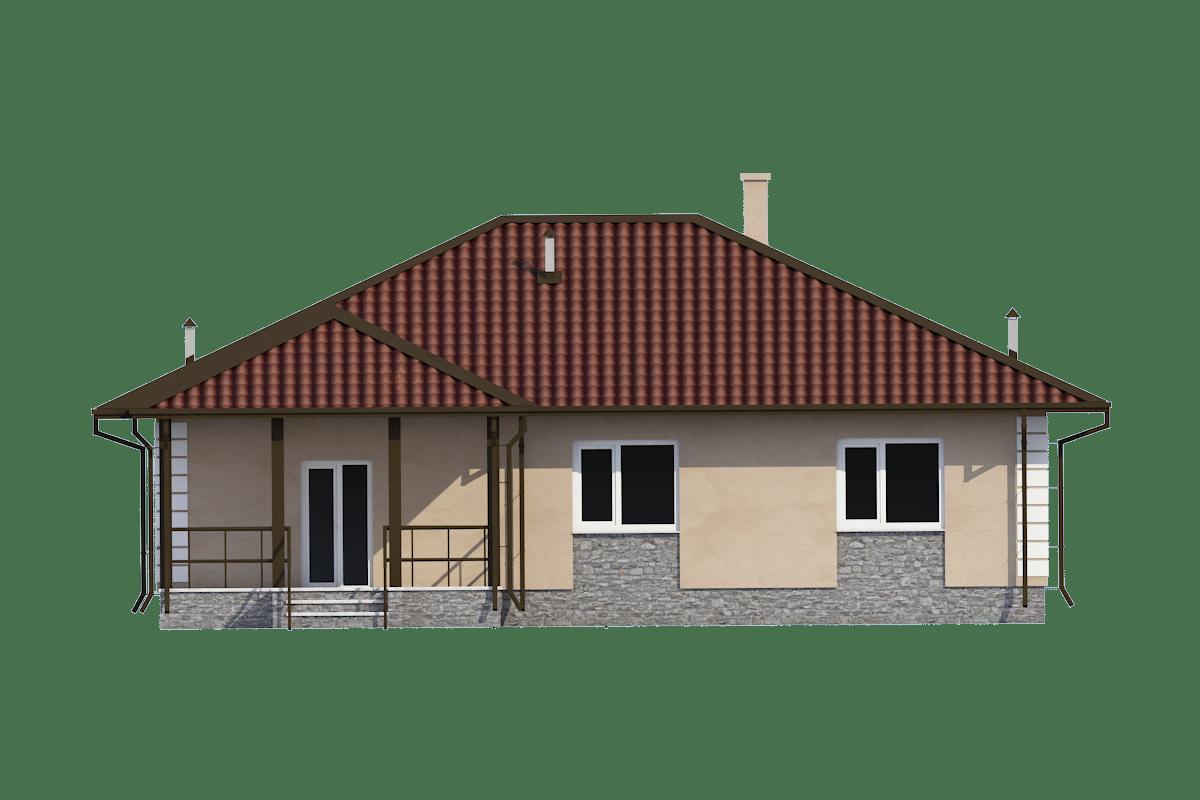 Фасад одноэтажного дома с террасой «КО-55» - сзади