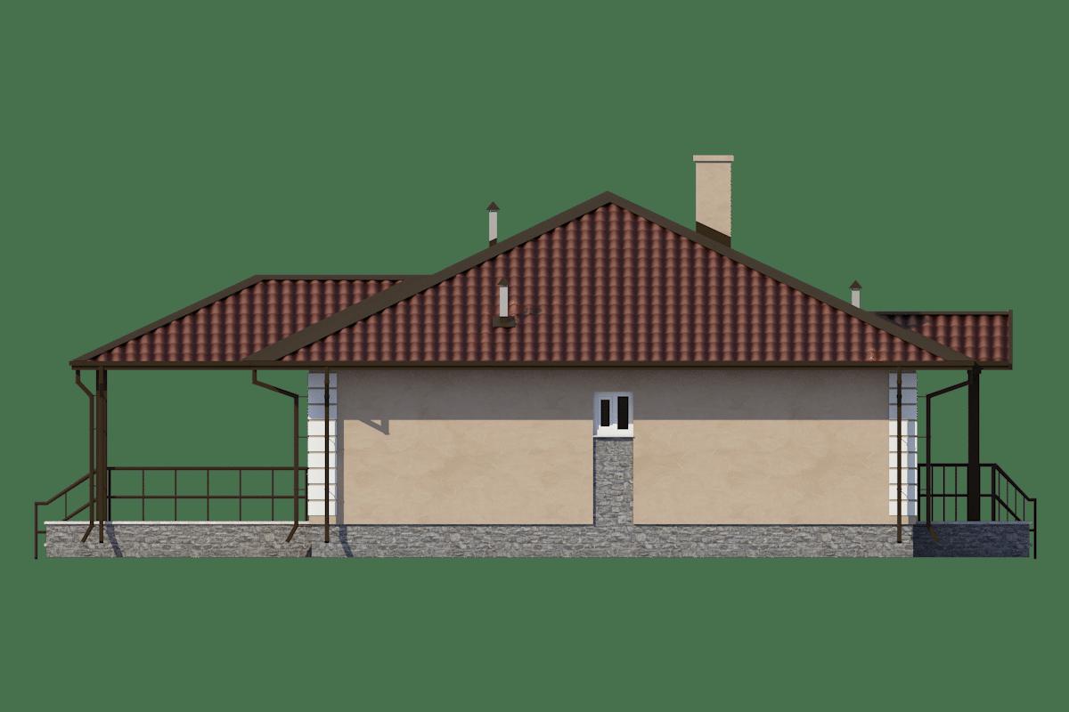 Фасад одноэтажного дома с террасой «КО-55» - слева