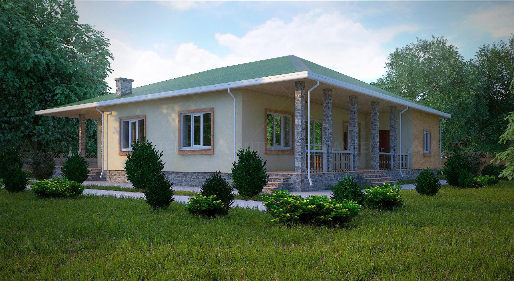 Проект одноэтажного дома с гаражом и террасой «КО-56» - фото №2