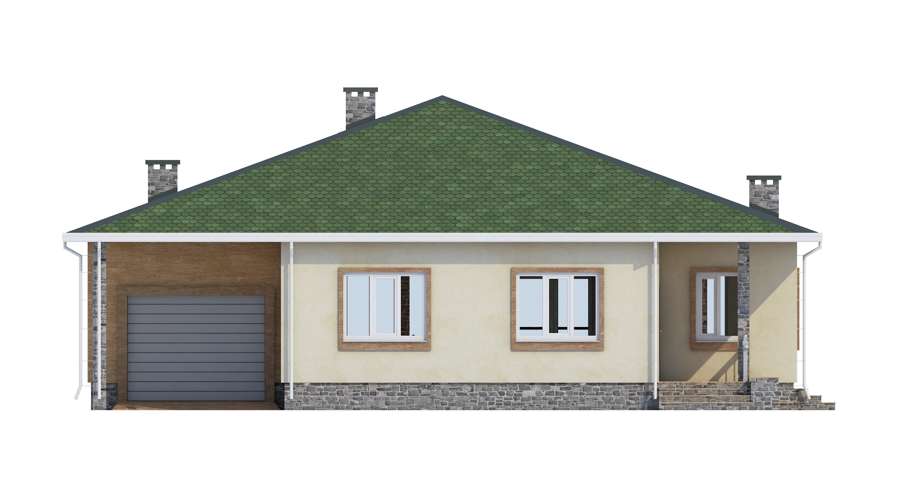 Фасад одноэтажного дома с гаражом и террасой «КО-56» - спереди