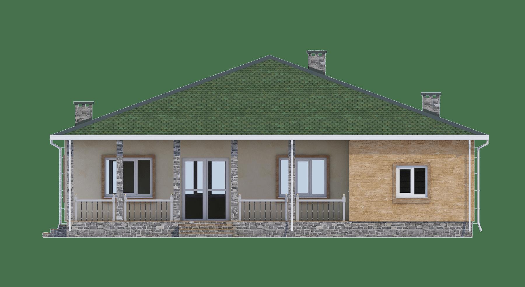 Фасад одноэтажного дома с гаражом и террасой «КО-56» - сзади