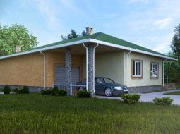 Проект одноэтажного дома с гаражом и террасой «КО-56»