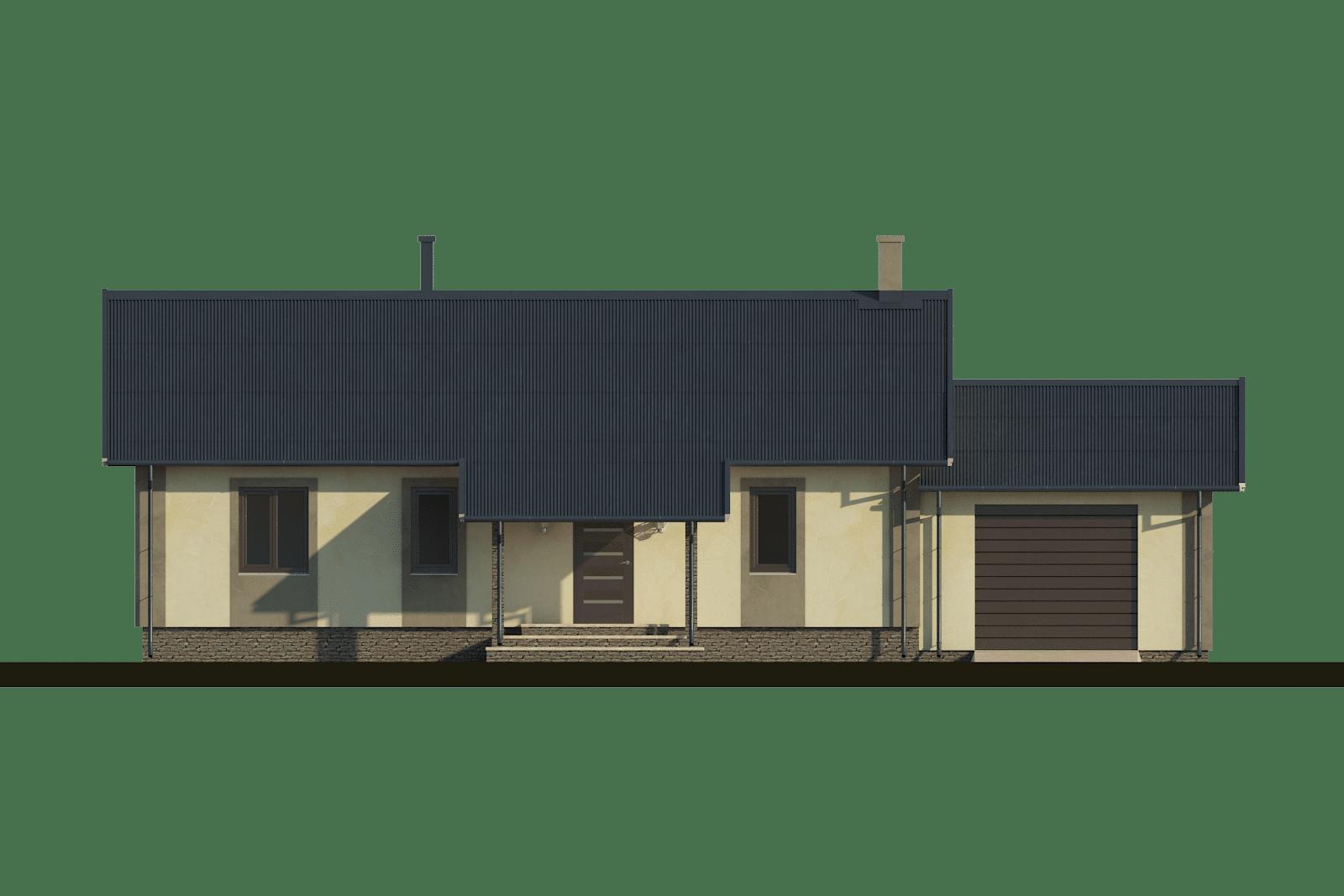 Фасад одноэтажного дома с гаражом и террасой «КО-57» - спереди