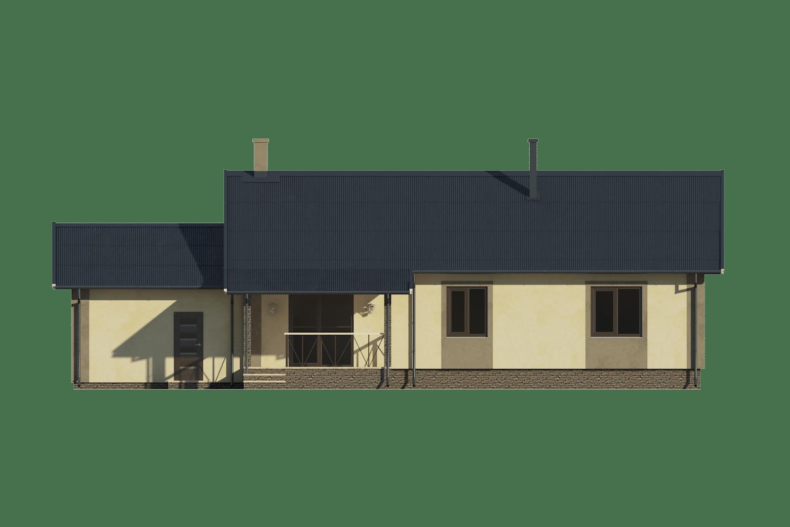 Фасад одноэтажного дома с гаражом и террасой «КО-57» - сзади