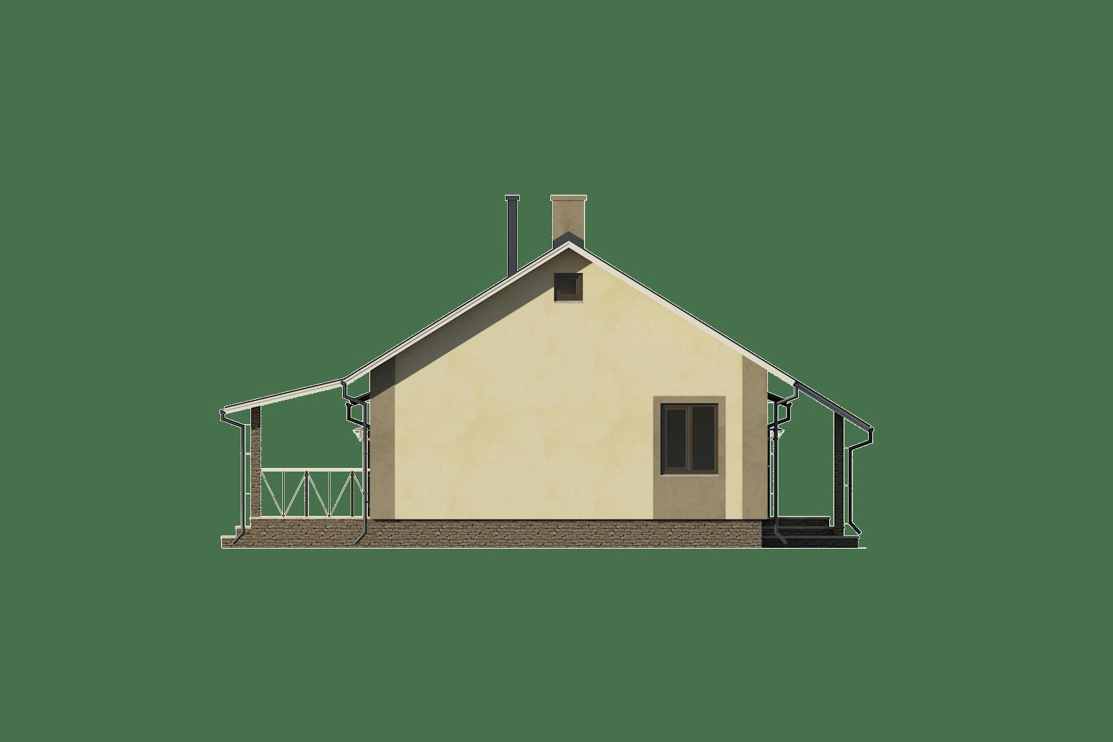 Фасад одноэтажного дома с гаражом и террасой «КО-57» - слева