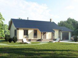 Проект одноэтажного дома с гаражом и террасой «КО-57»