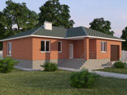 Проект одноэтажного дома с гаражом и террасой «КО-58»