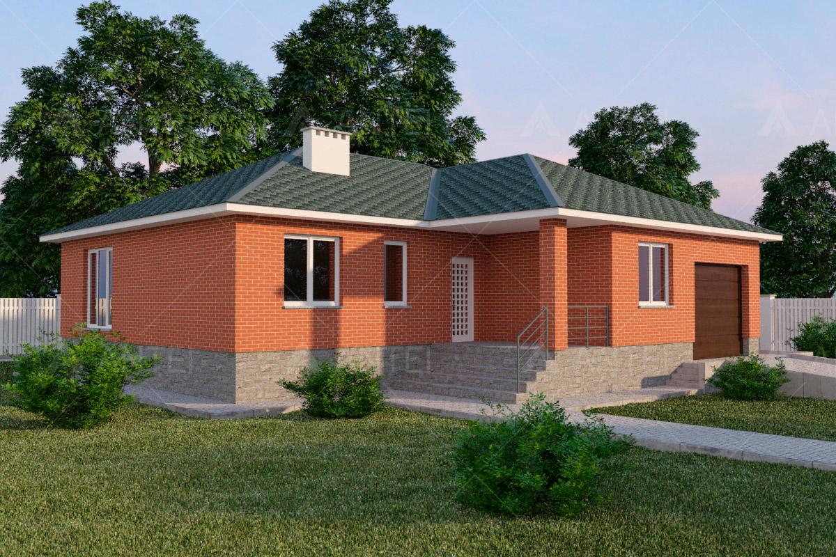 Проект одноэтажного дома с гаражом и террасой «КО-58» - фото №1