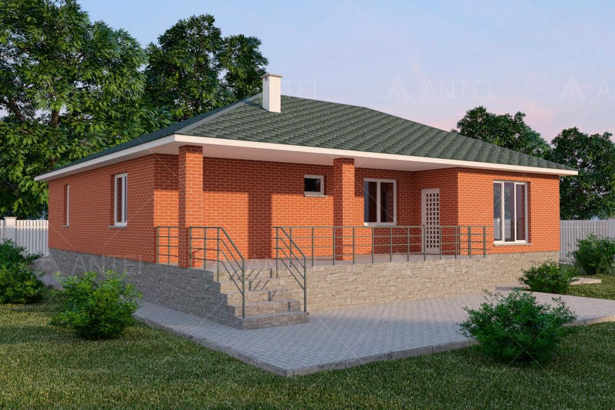 Проект одноэтажного дома с гаражом и террасой «КО-58» - фото №2