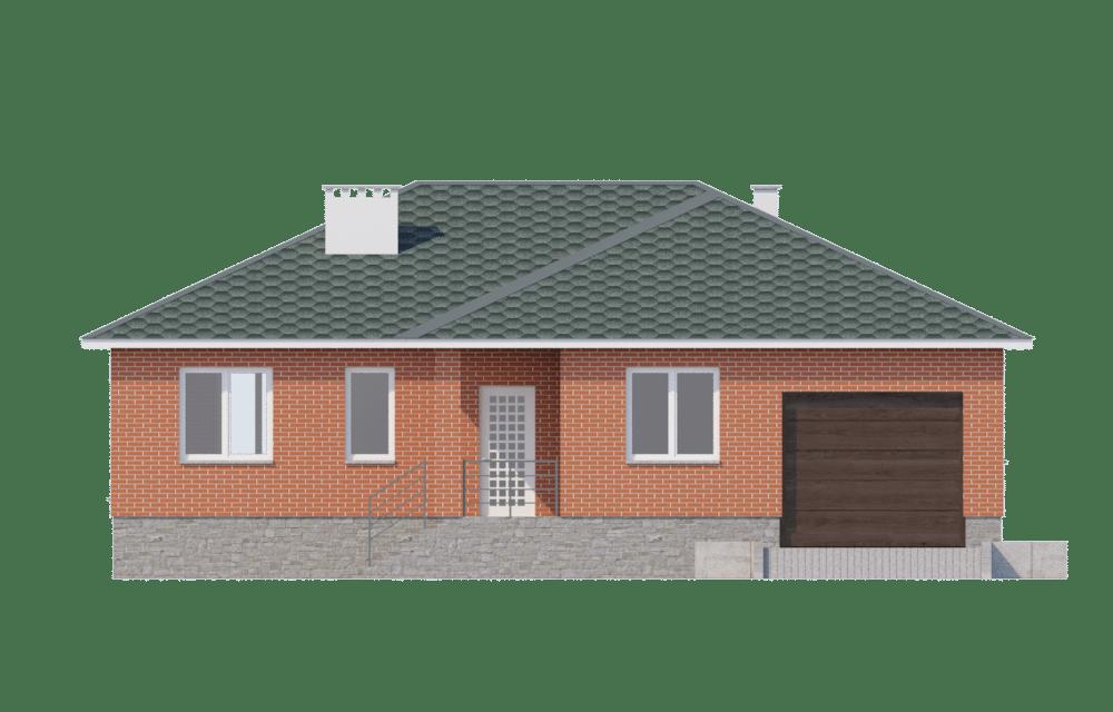 Фасад одноэтажного дома с гаражом и террасой «КО-58» - спереди