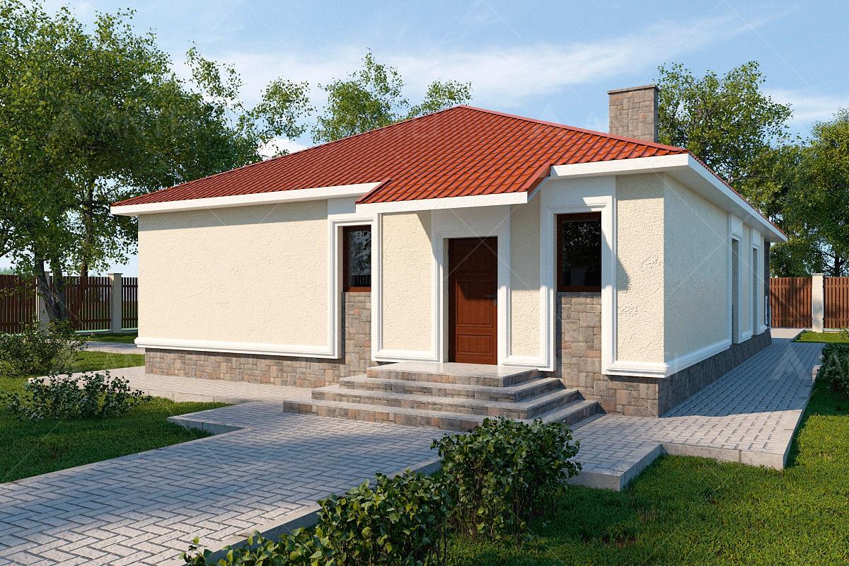 Проект одноэтажного дома с террасой «КО-59» - фото №1