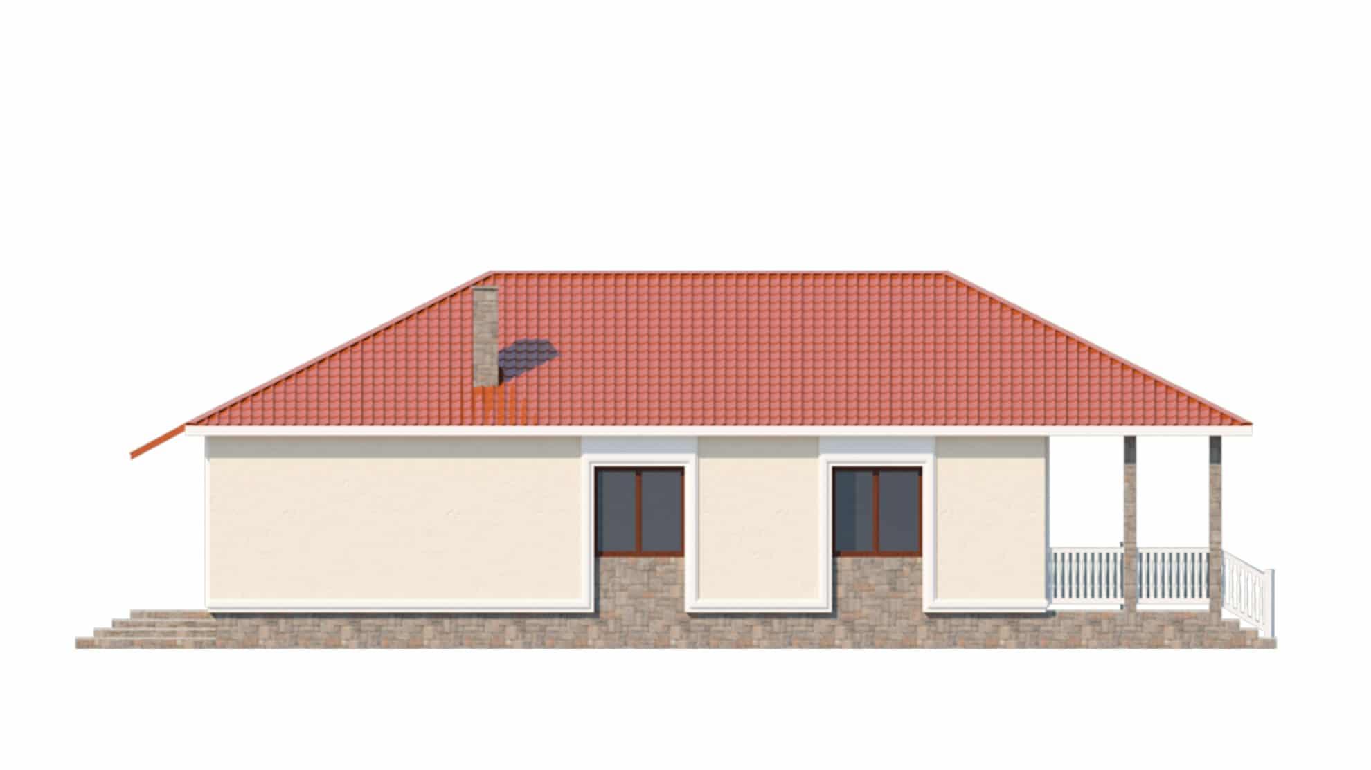 Фасад одноэтажного дома с террасой «КО-59»