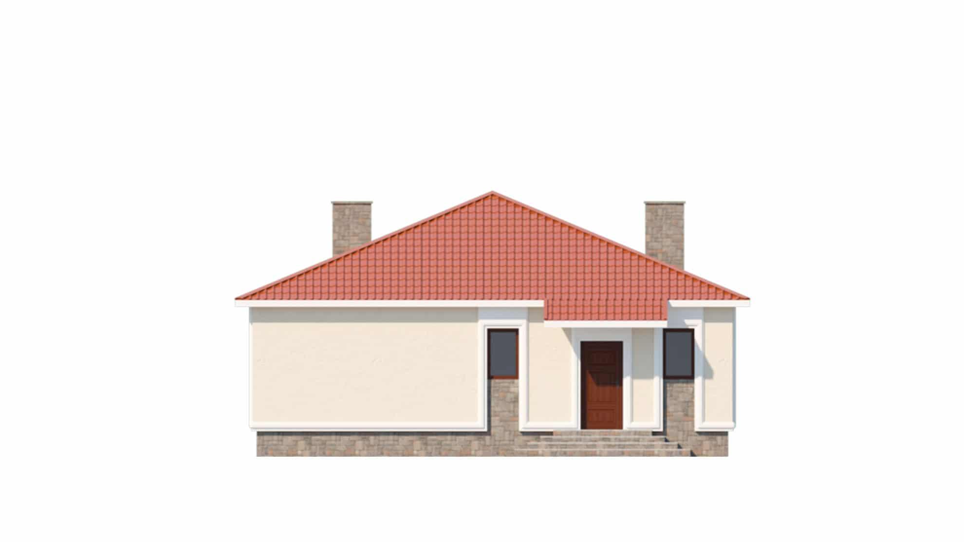 Фасад одноэтажного дома с террасой «КО-59» - спереди