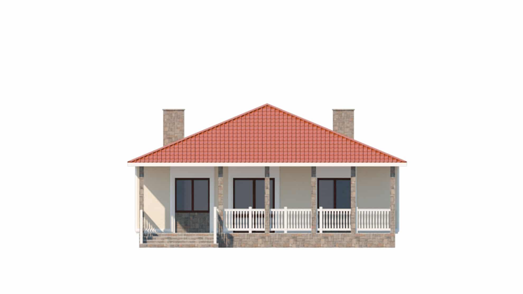 Фасад одноэтажного дома с террасой «КО-59» - сзади