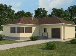 Проект одноэтажного дома с гаражом и террасой «КО-60»