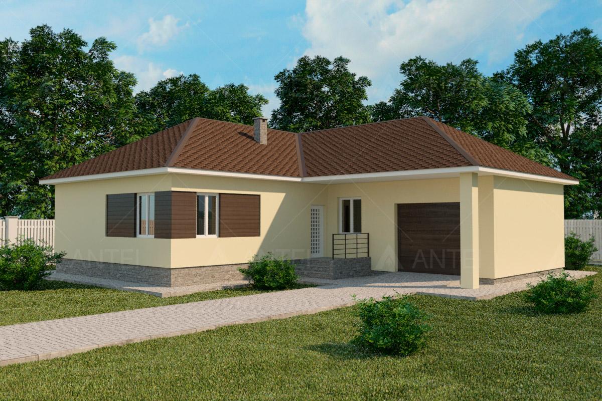 Проект одноэтажного дома с гаражом и террасой «КО-60» - фото №1