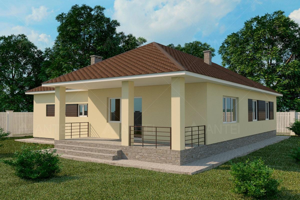 Проект одноэтажного дома с гаражом и террасой «КО-60» - фото №2