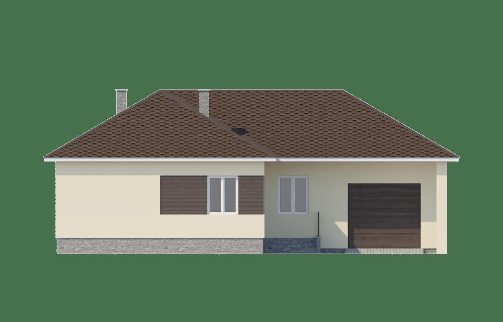 Фасад одноэтажного дома с гаражом и террасой «КО-60» - спереди