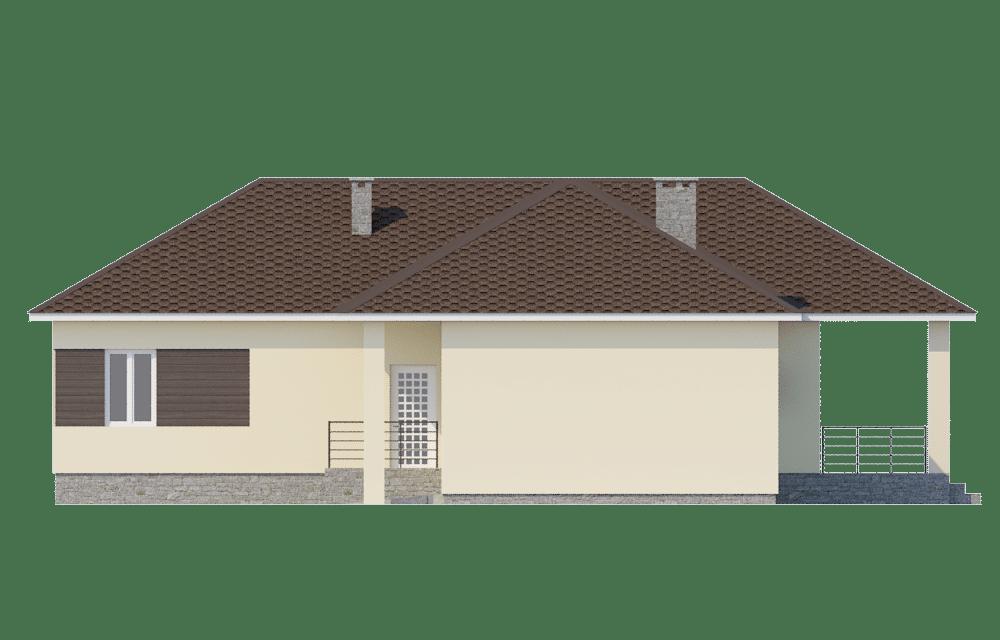 Фасад одноэтажного дома с гаражом и террасой «КО-60» - справа