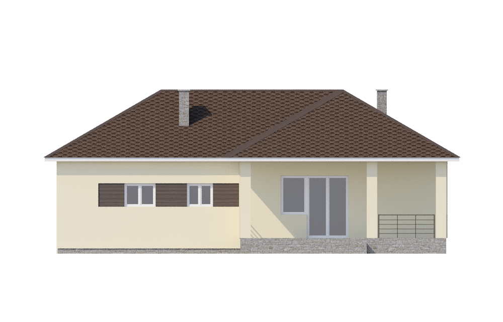 Фасад одноэтажного дома с гаражом и террасой «КО-60» - сзади