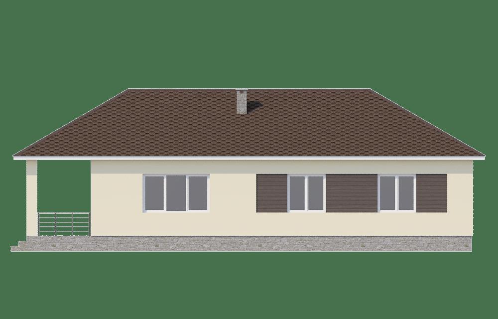 Фасад одноэтажного дома с гаражом и террасой «КО-60» - слева