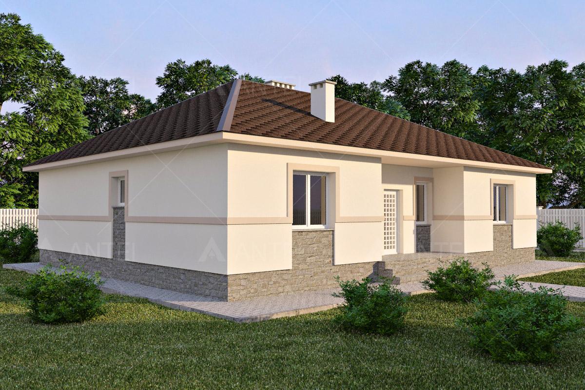 Проект одноэтажного дома с террасой «КО-61» - фото №1