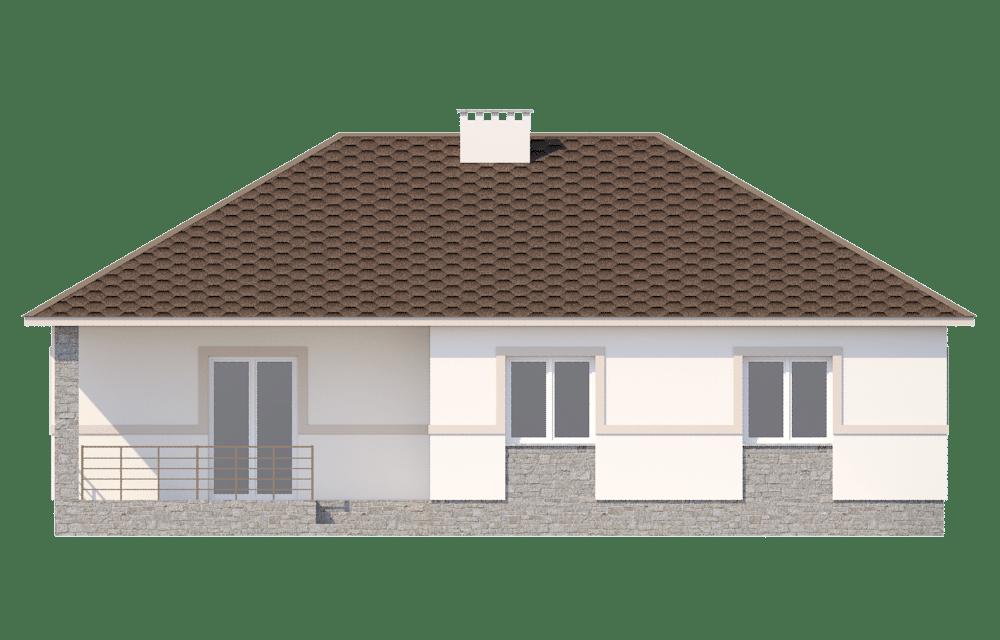 Фасад одноэтажного дома с террасой «КО-61» - сзади