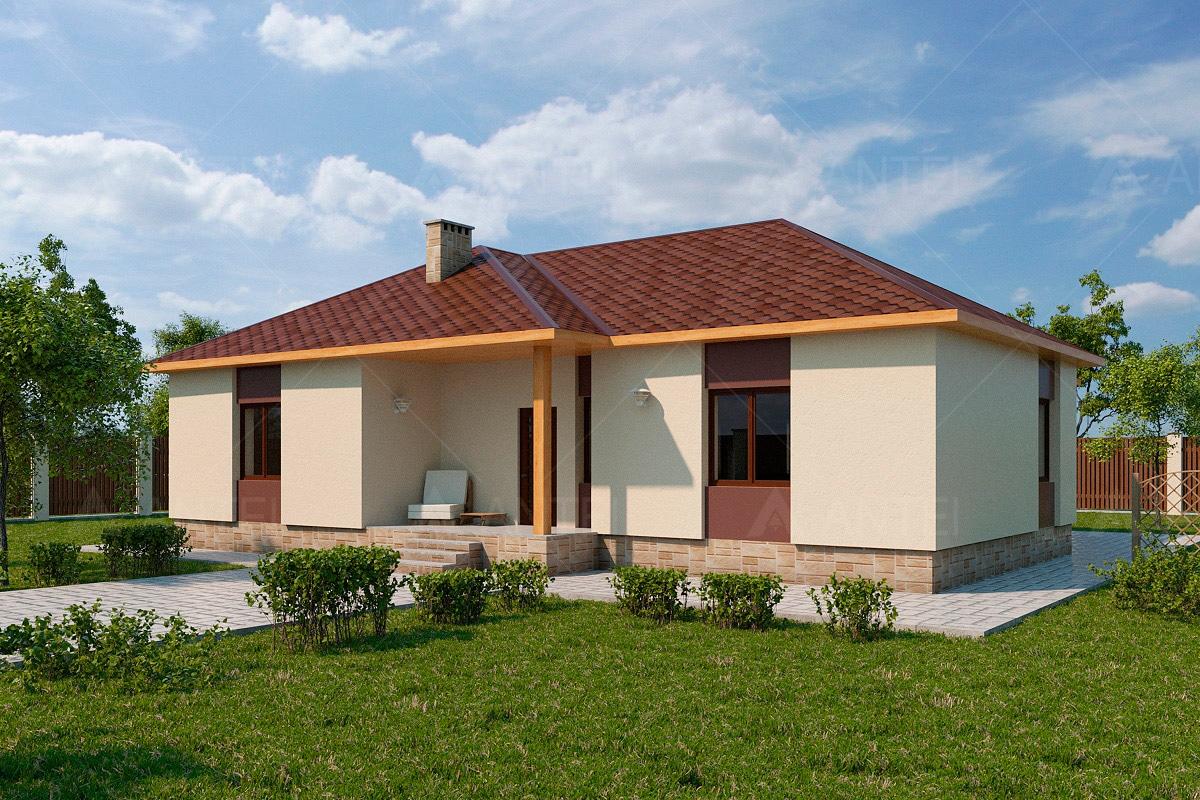 Проект одноэтажного дома с террасой «КО-62» - фото №1