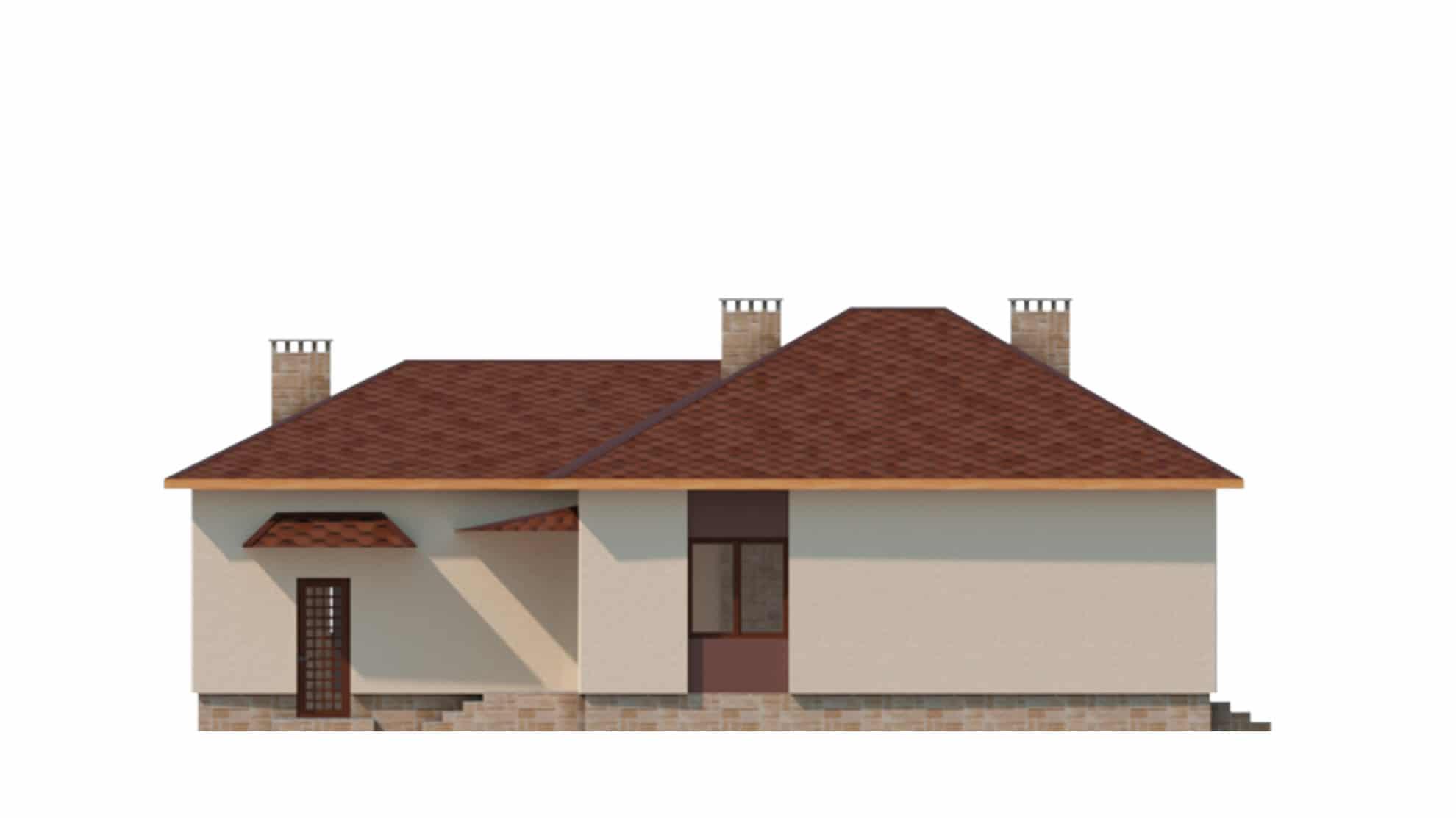 Фасад одноэтажного дома с террасой «КО-62» - слева