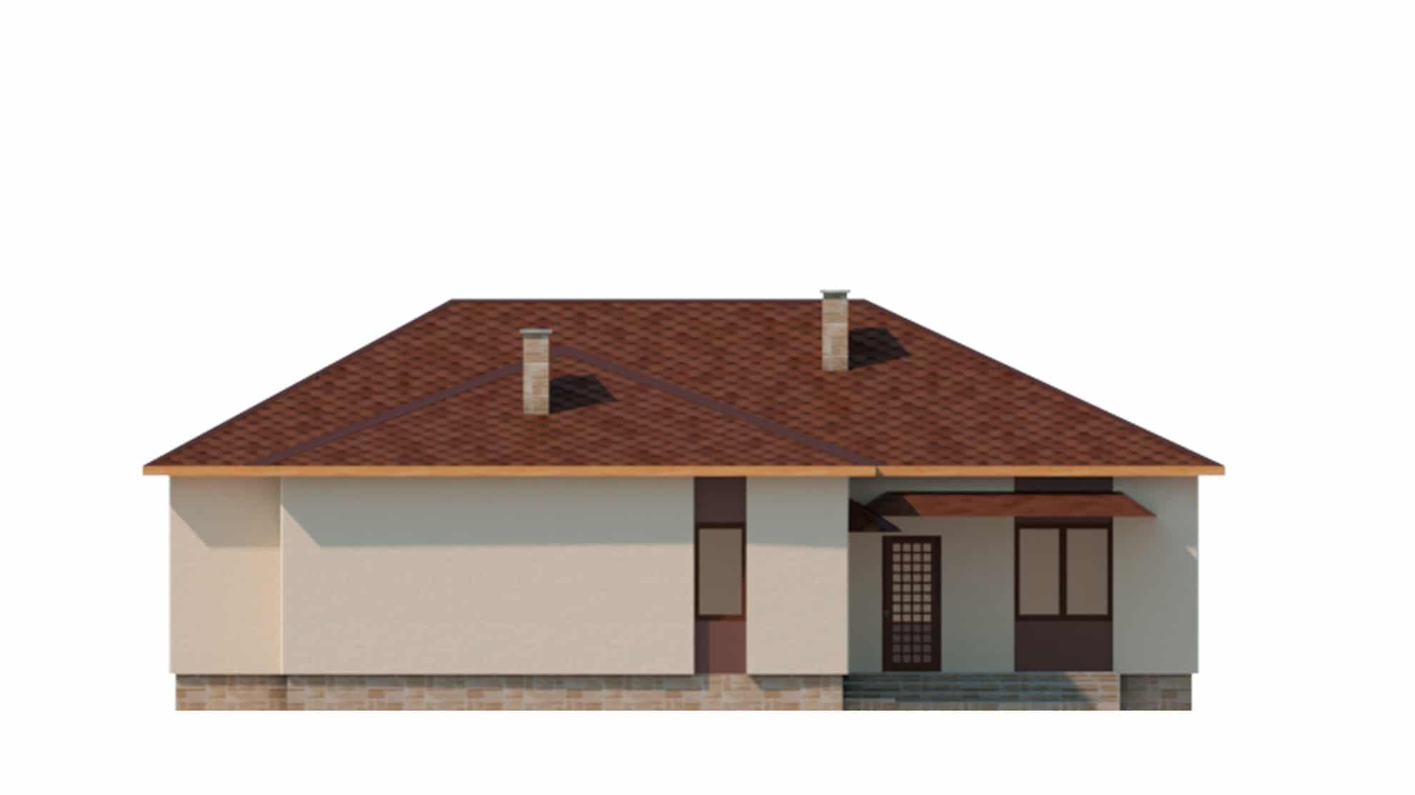 Фасад одноэтажного дома с террасой «КО-62» - сзади