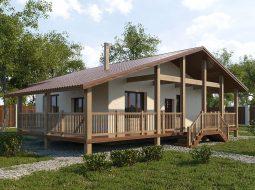 Проект одноэтажного дома с гаражом и террасой «КО-63»