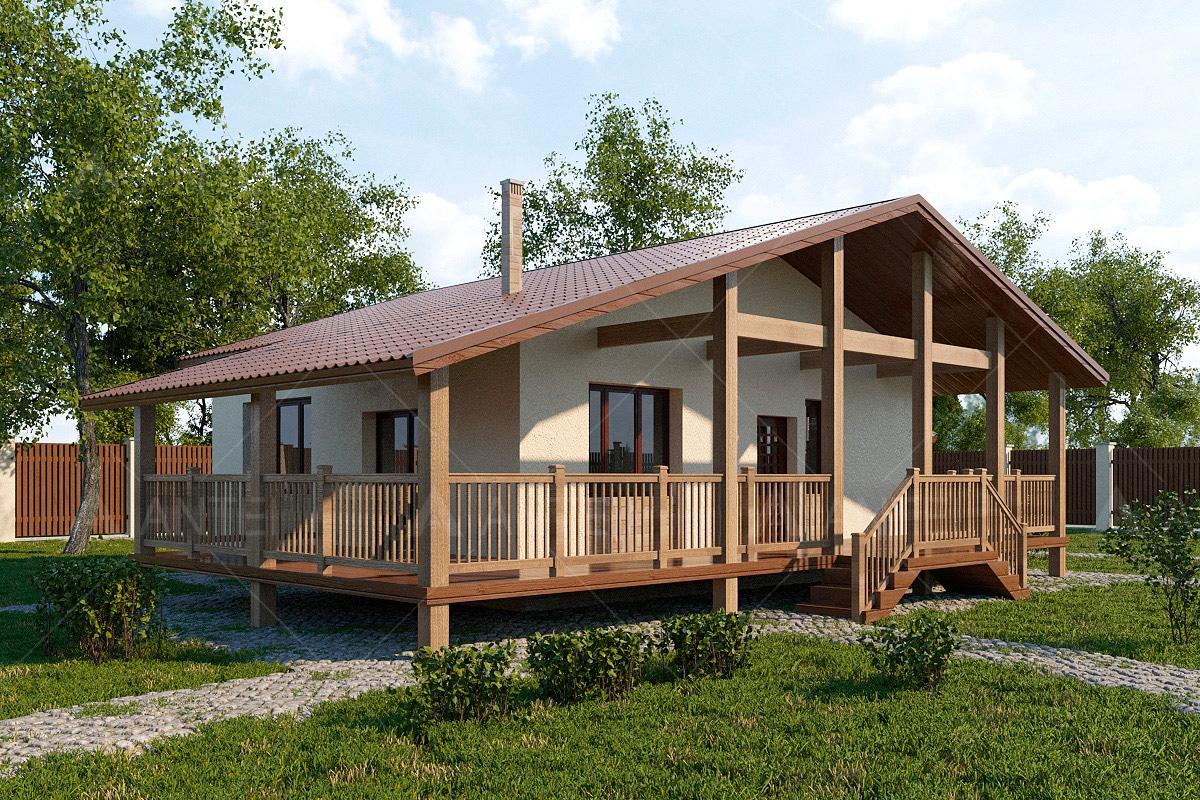 Проект одноэтажного дома с гаражом и террасой «КО-63» - фото №1