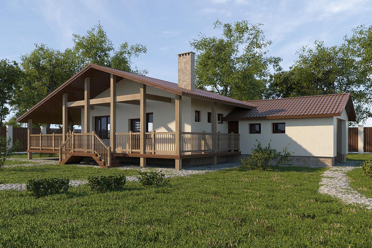 Проект одноэтажного дома с гаражом и террасой «КО-63» - фото №2