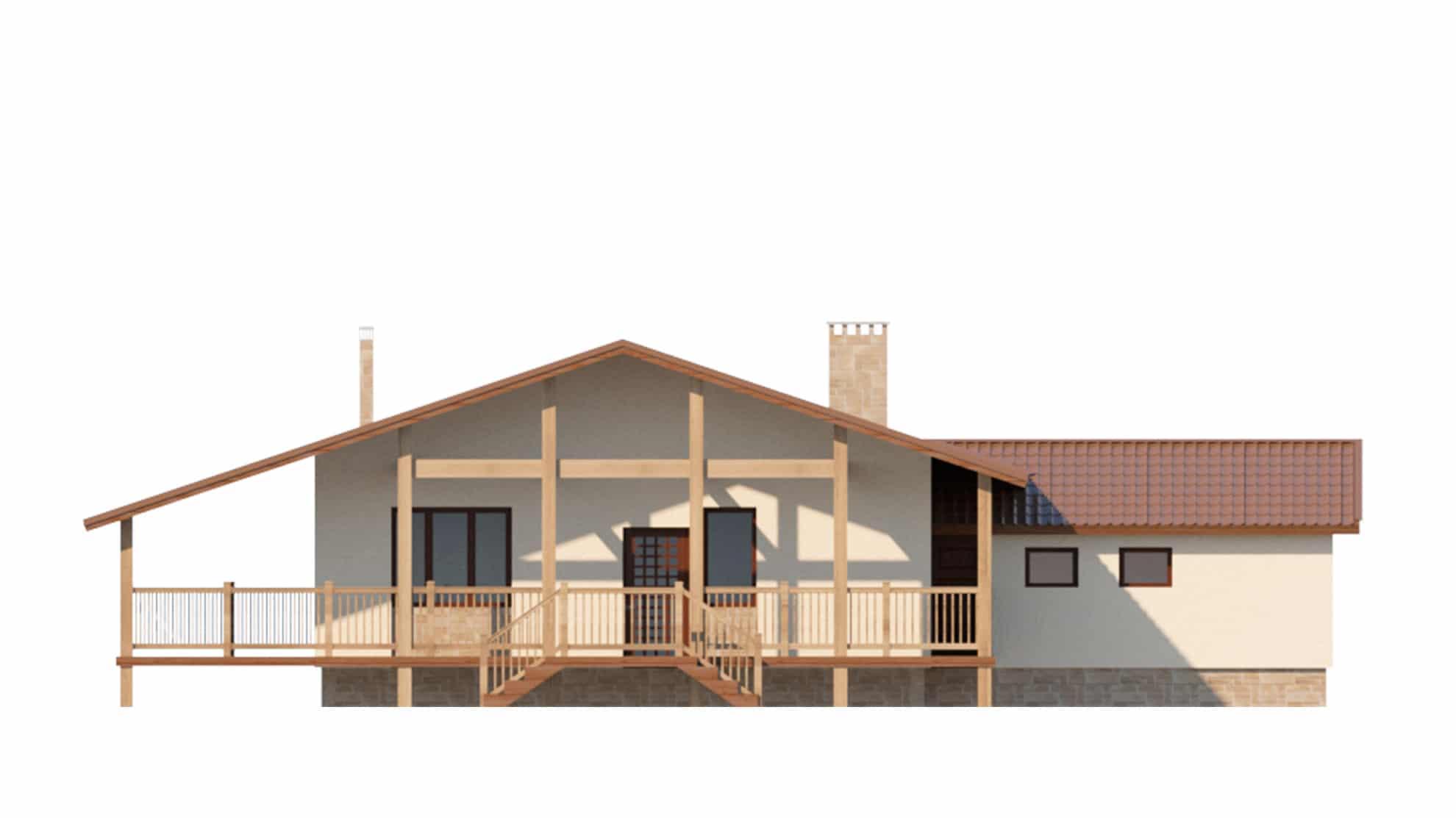 Фасад одноэтажного дома с гаражом и террасой «КО-63» - спереди