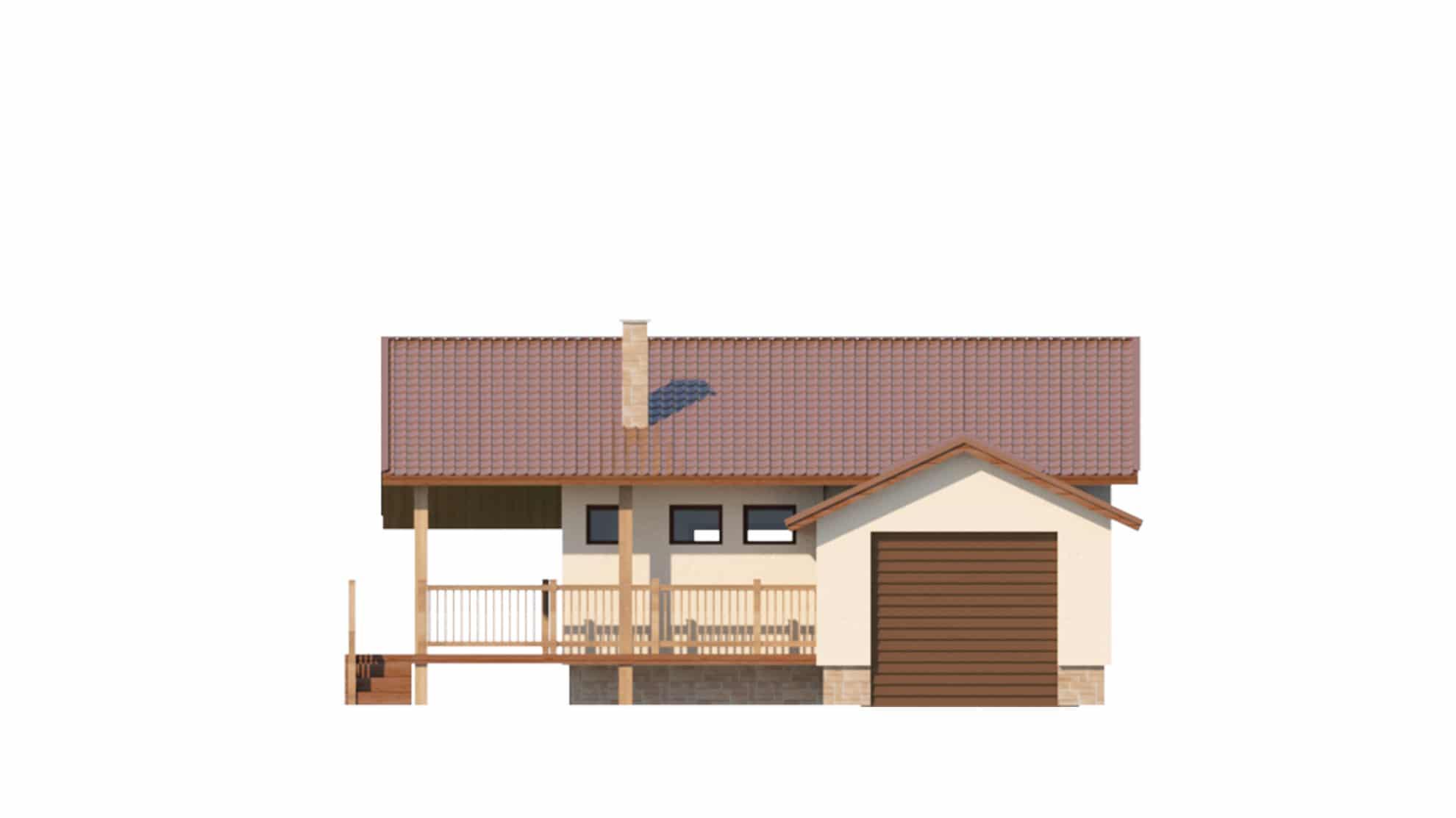 Фасад одноэтажного дома с гаражом и террасой «КО-63» - справа