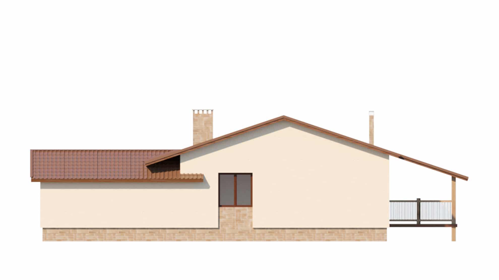 Фасад одноэтажного дома с гаражом и террасой «КО-63» - сзади