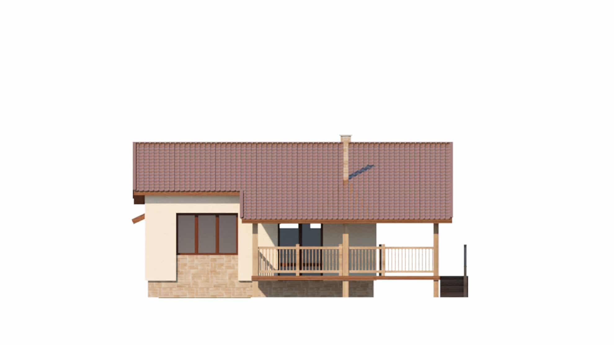 Фасад одноэтажного дома с гаражом и террасой «КО-63» - слева