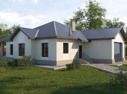 Проект одноэтажного дома с гаражом и террасой «КО-64»