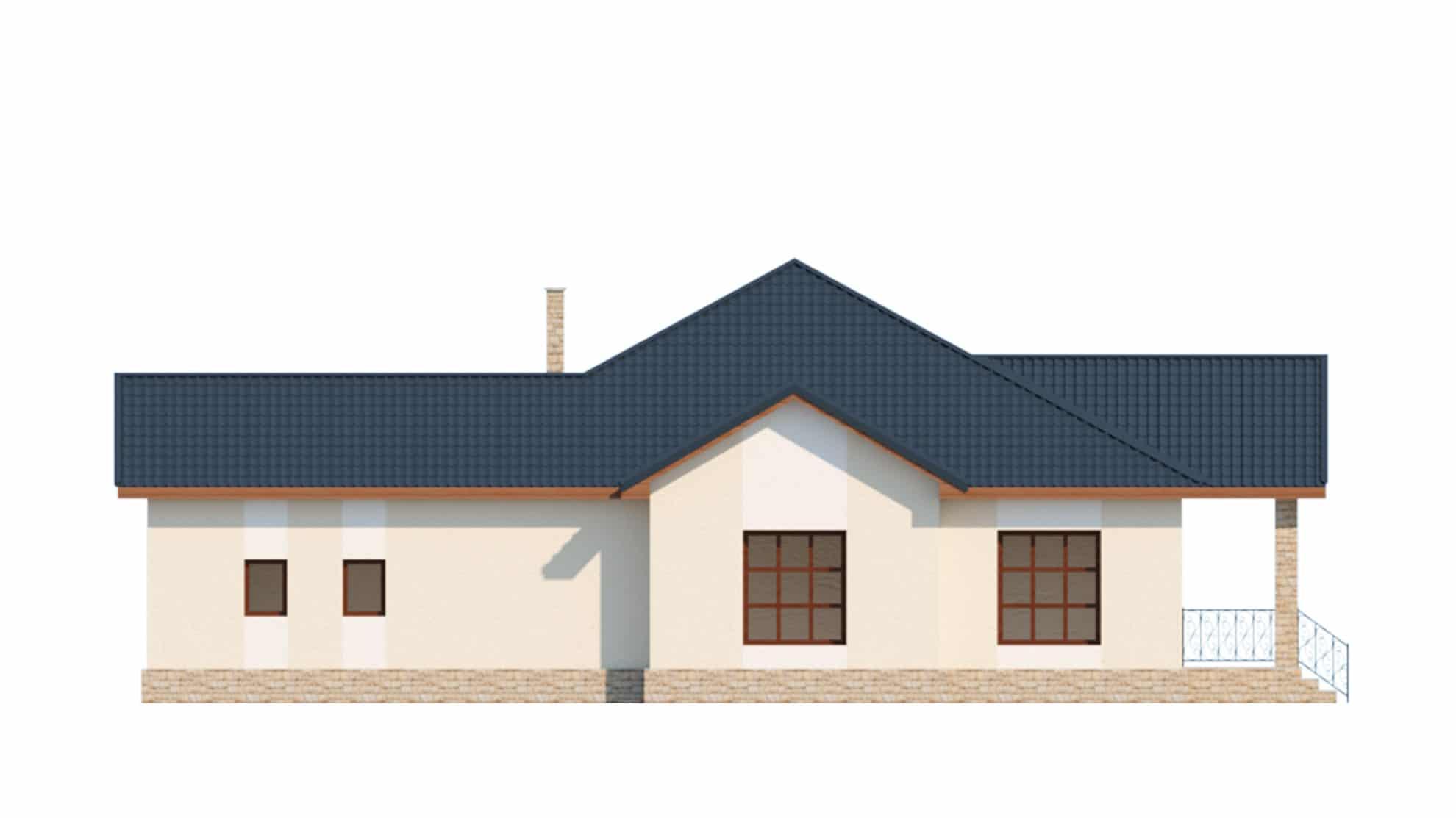 Фасад одноэтажного дома с гаражом и террасой «КО-64» - слева