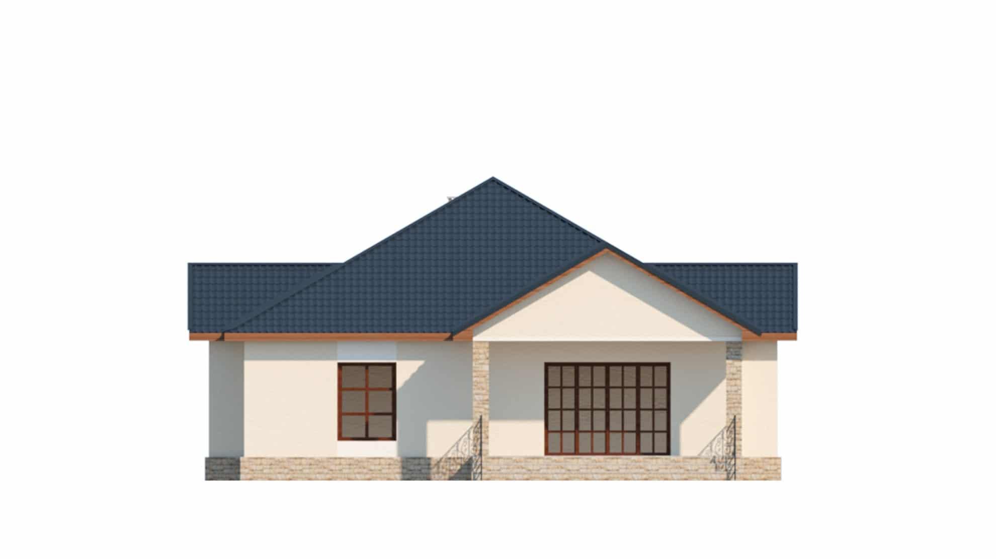 Фасад одноэтажного дома с гаражом и террасой «КО-64» - сзади