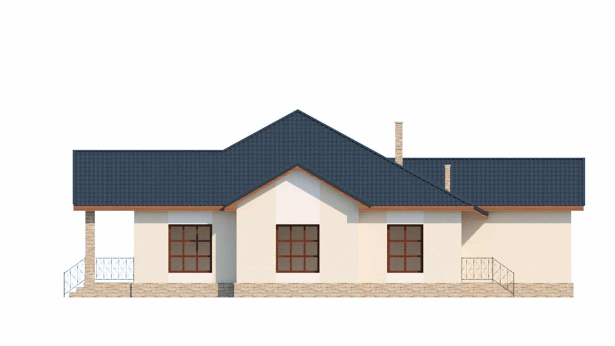 Фасад одноэтажного дома с гаражом и террасой «КО-64» - справа
