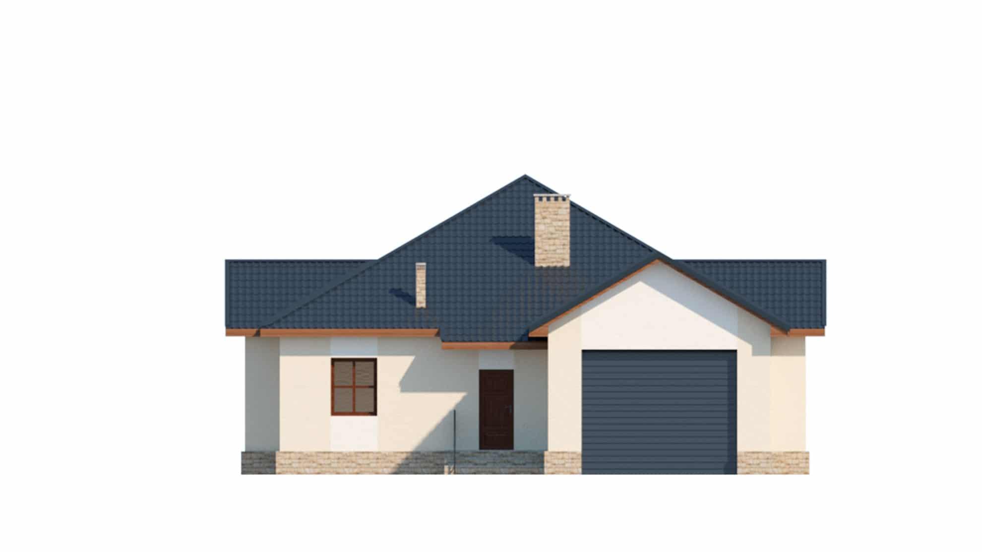 Фасад одноэтажного дома с гаражом и террасой «КО-64» - спереди